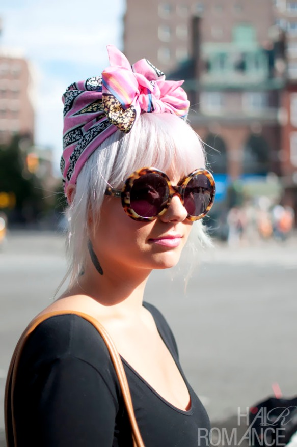Street-style-hair-New-York-Pink-scarf-turban
