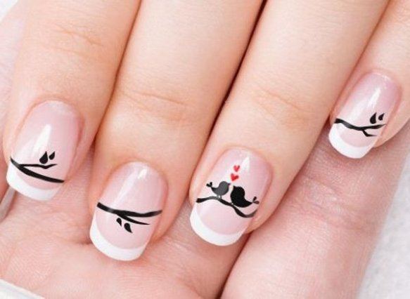 Acrylic-Nails-with-Hearts-Birds-for-Valentines-Day-Nail-Art